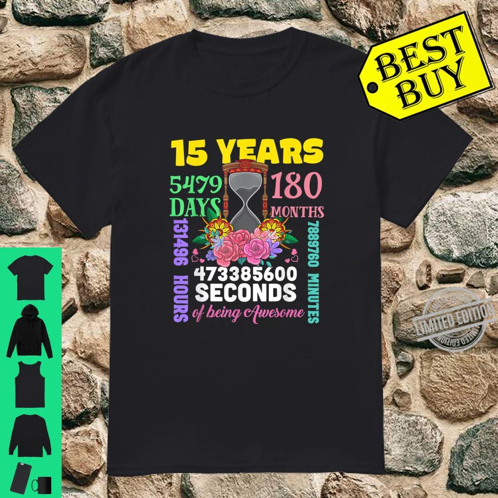 15 Years 180 Months Happy 15th Birthday Party Outfit Shirt