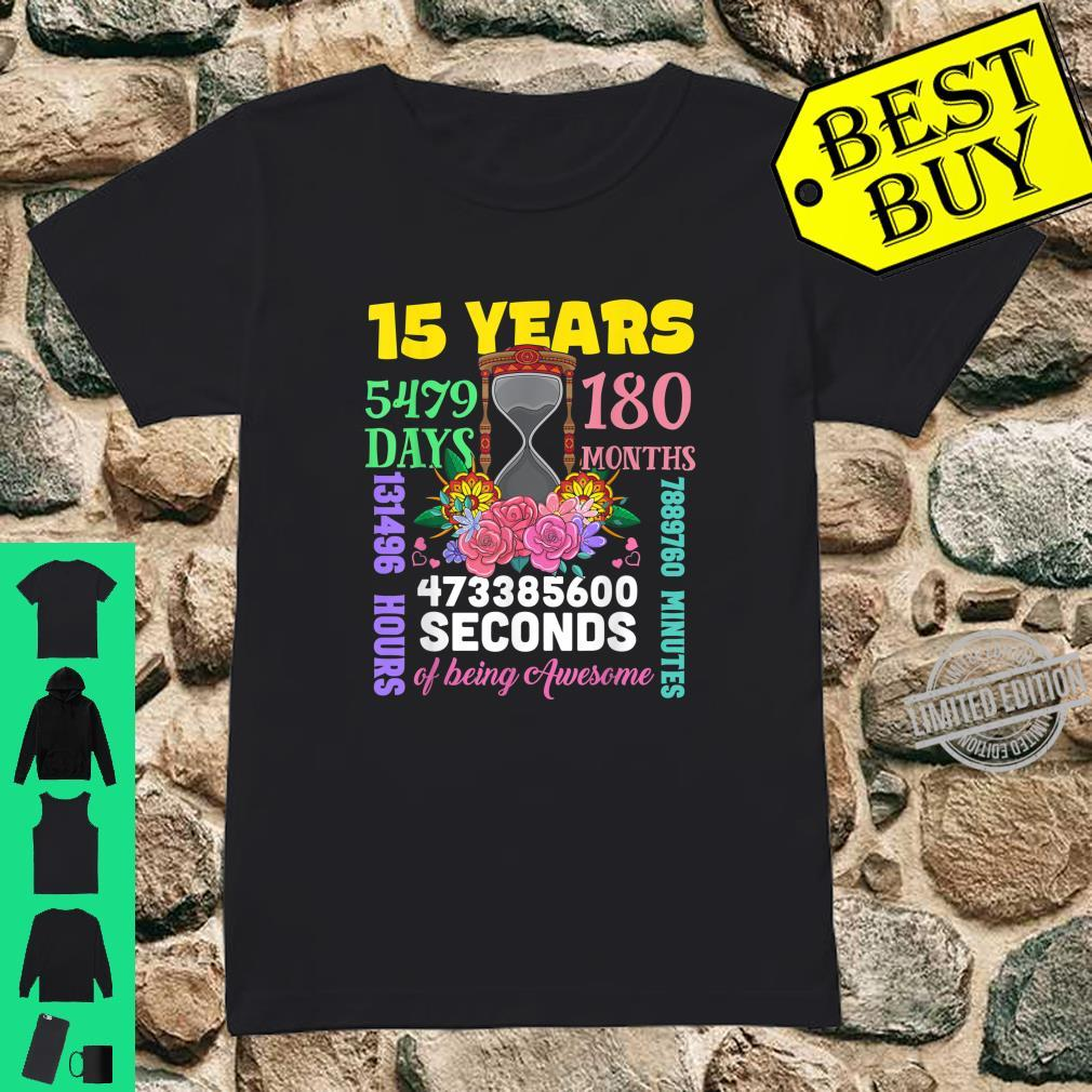 15 Years 180 Months Happy 15th Birthday Party Outfit Shirt ladies tee