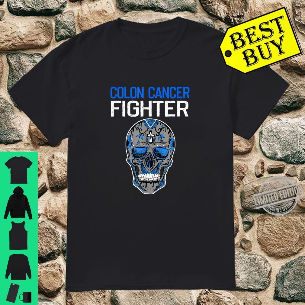 Colon Cancer Awareness Fighter Costume Skull Ribbon Shirt