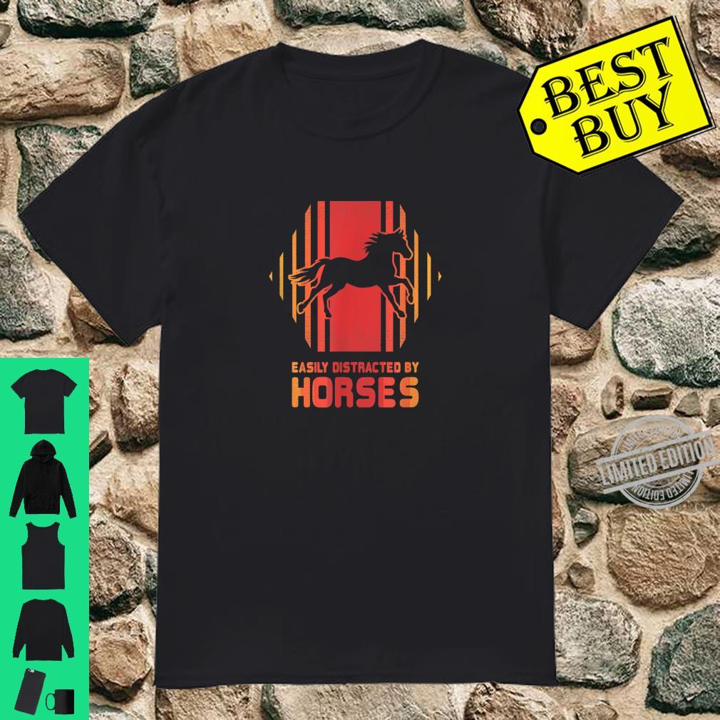 Easily Distracted By Horses Retro 80s EDM Techno Rave Shirt