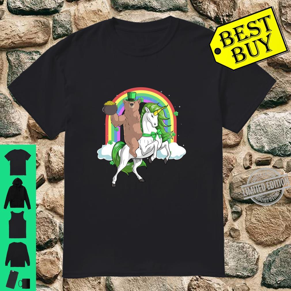 Grizzly Bear Riding Lepricorn Unicorn St Patricks Day Shirt