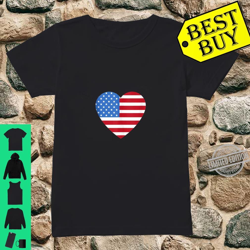 I love America Love Flag heart 4th of July Shirt ladies tee