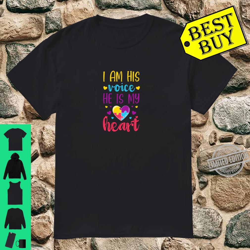 I'm His Voice He Is My Heart Autism Mom Puzzle Heart Shirt