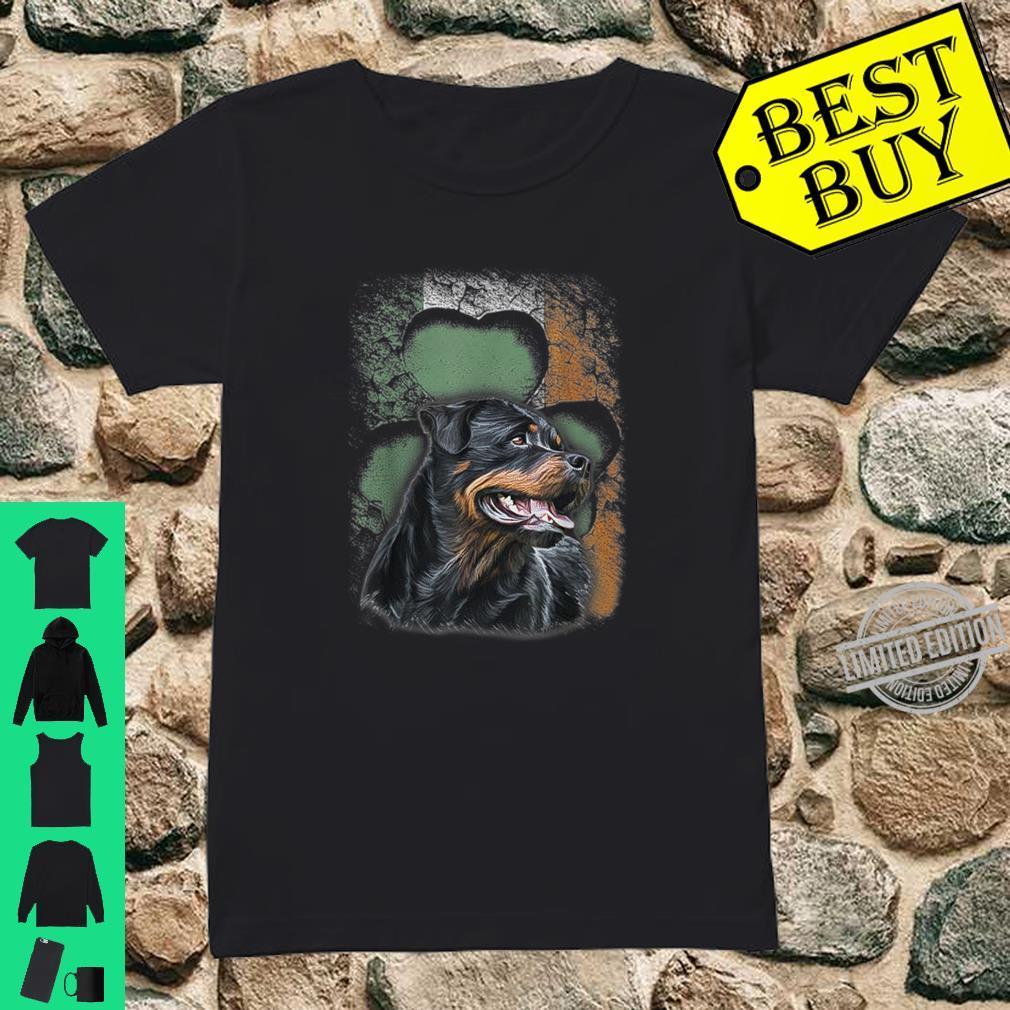 Irish Rottweiler American Flag Shamrock Happy St Patrick Day Shirt ladies tee