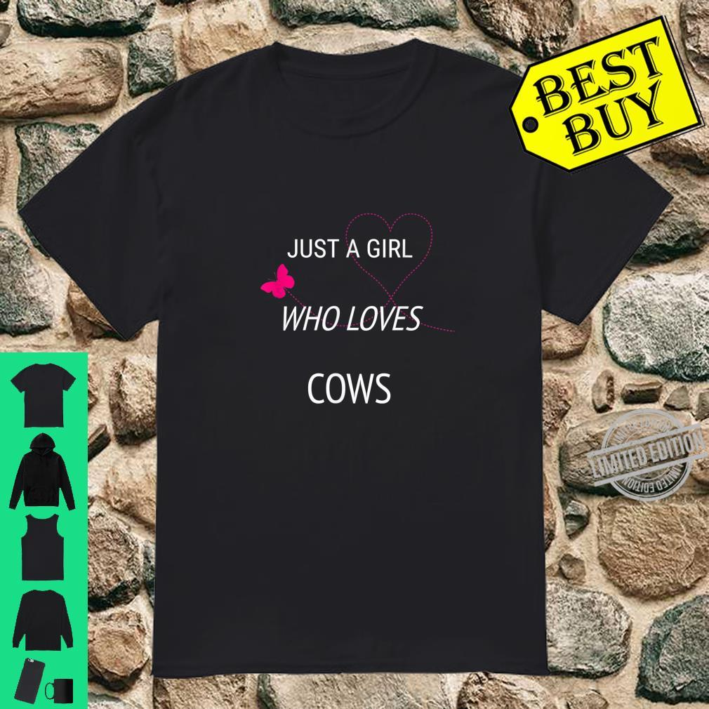 Just A Girl Who Loves Cows Butterfly Heart Shirt