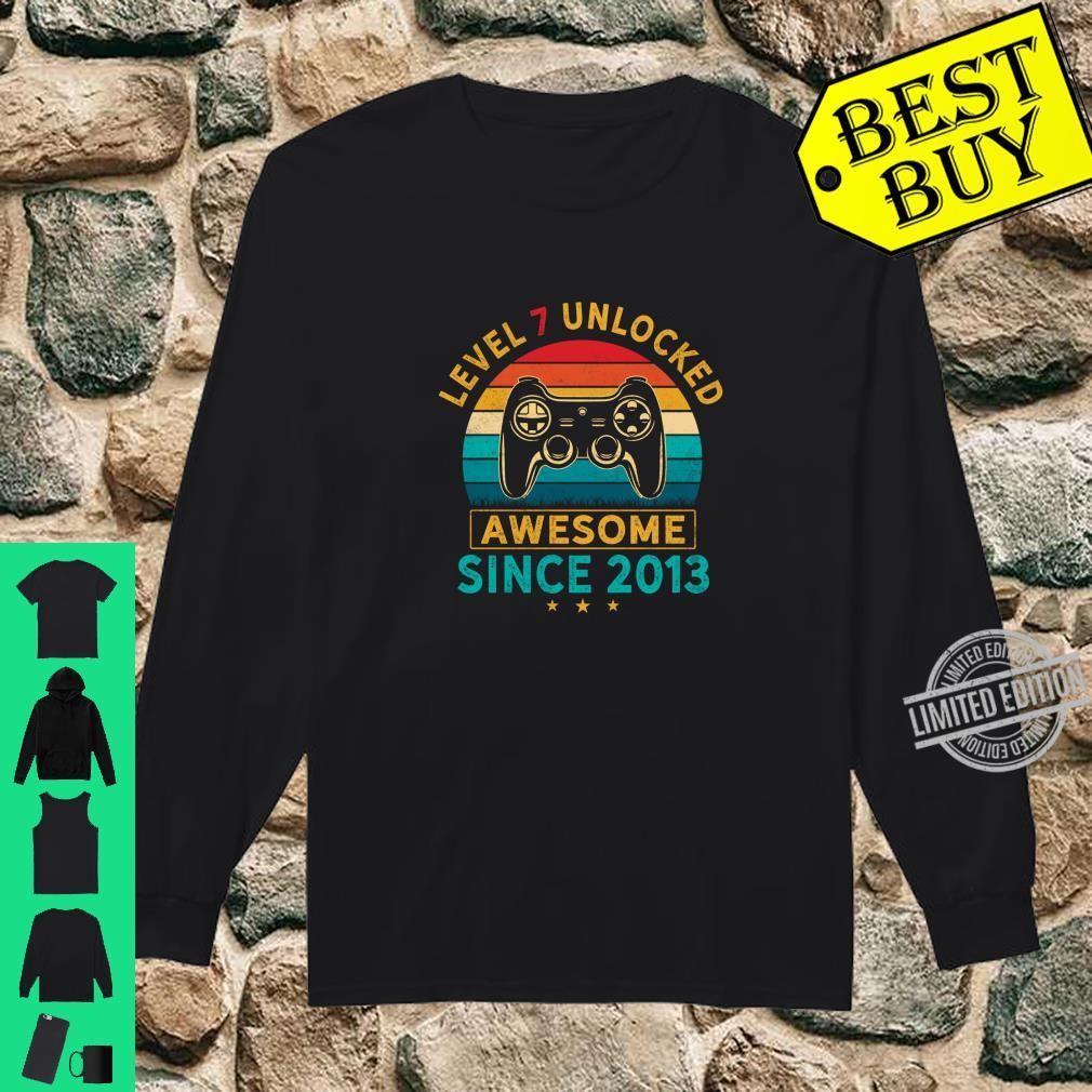 Level 7 Unlocked Birthday 7 Years Old Awesome Since 2013 Shirt long sleeved
