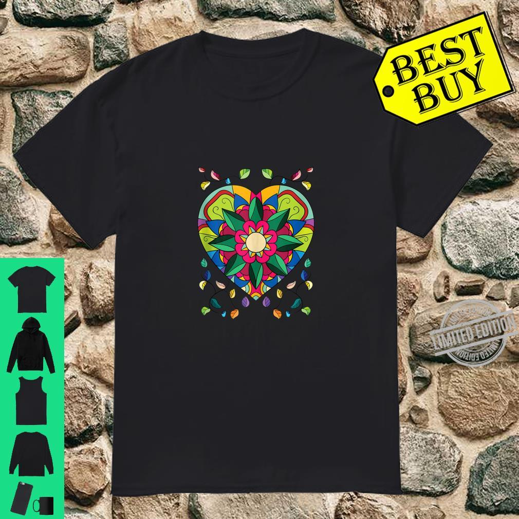 Mandala Beautiful Heart Flower Pattern Shirt