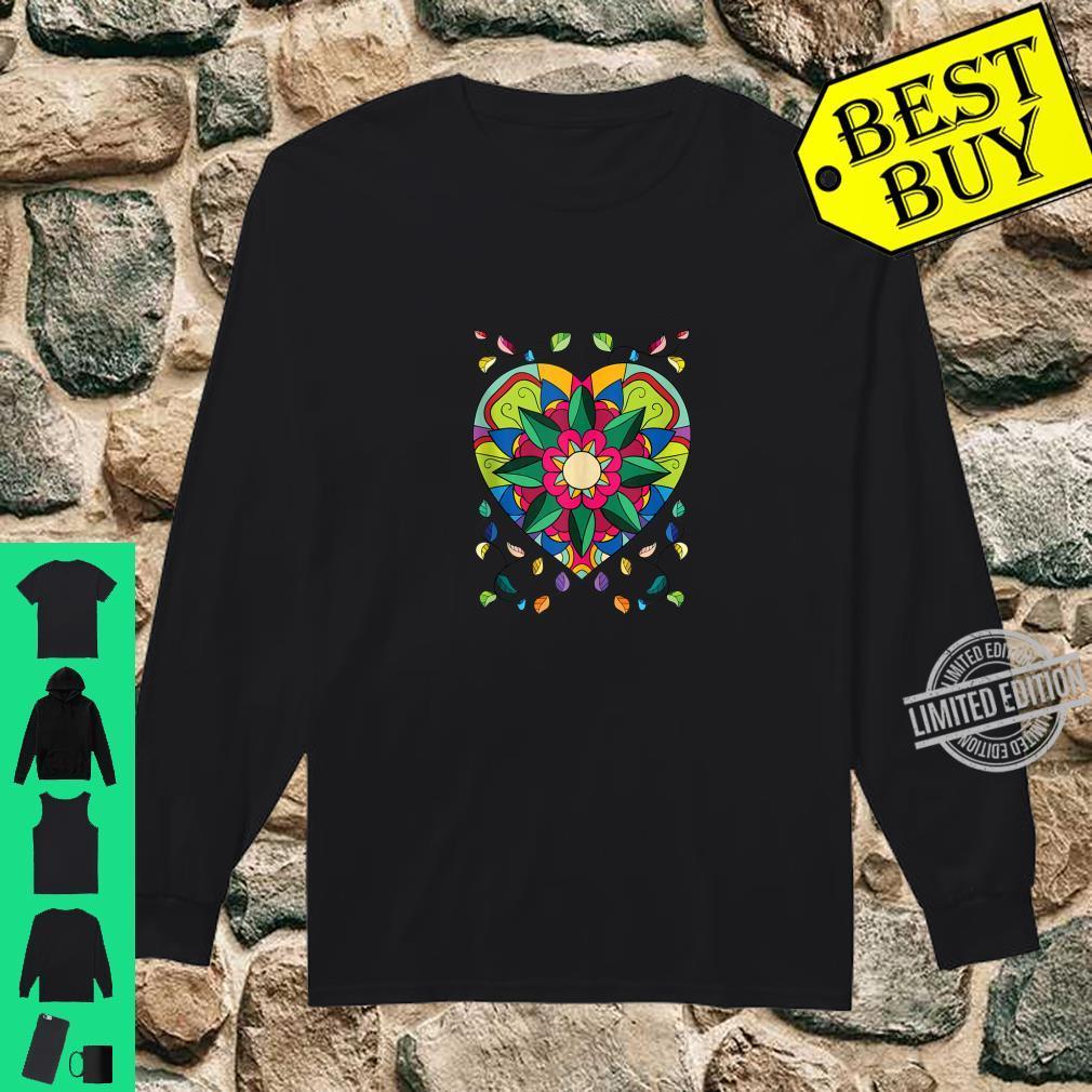 Mandala Beautiful Heart Flower Pattern Shirt long sleeved