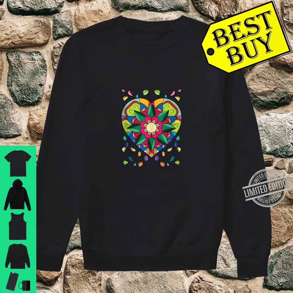 Mandala Beautiful Heart Flower Pattern Shirt sweater