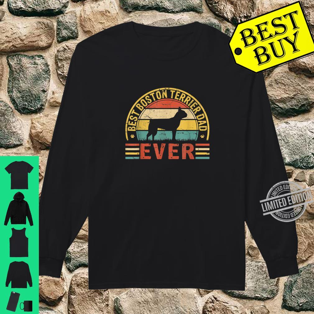 Mens Father's Day Best Boston Terrier Dad Ever Vintage Shirt long sleeved
