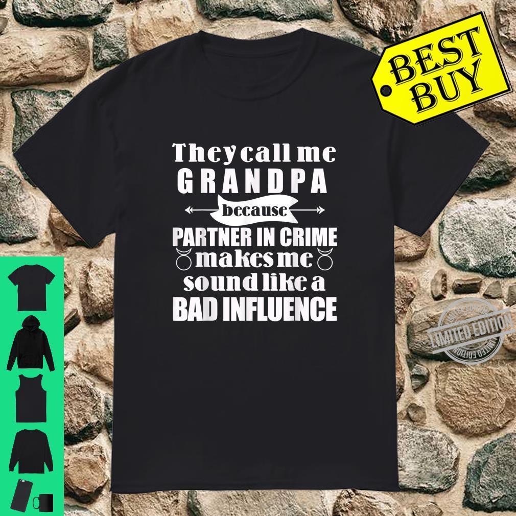 Mens Grandpa Partner in Crime Badass Grandfather Shirt