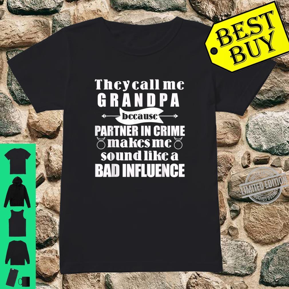 Mens Grandpa Partner in Crime Badass Grandfather Shirt ladies tee