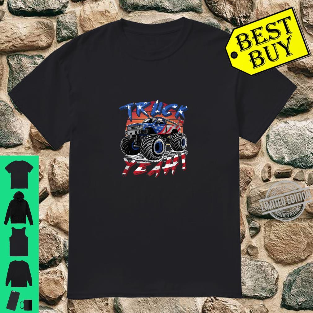 Monster Trucks Truck Yeah Vintage Retro USA Flag Shirt