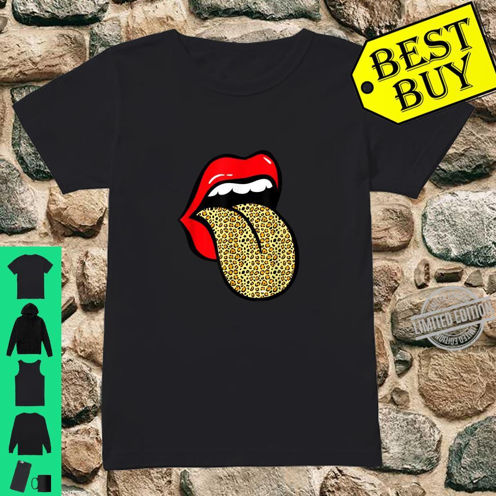 Red Lips Leopard Tongue Animal Zookeeper Shirt ladies tee