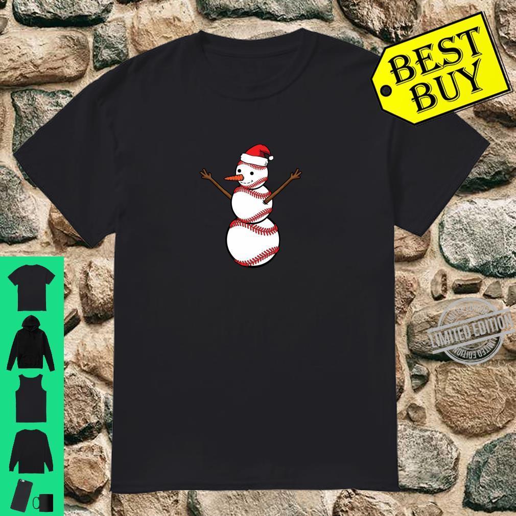 Santa Snowman Baseball Lover Christmas Sports Shirt