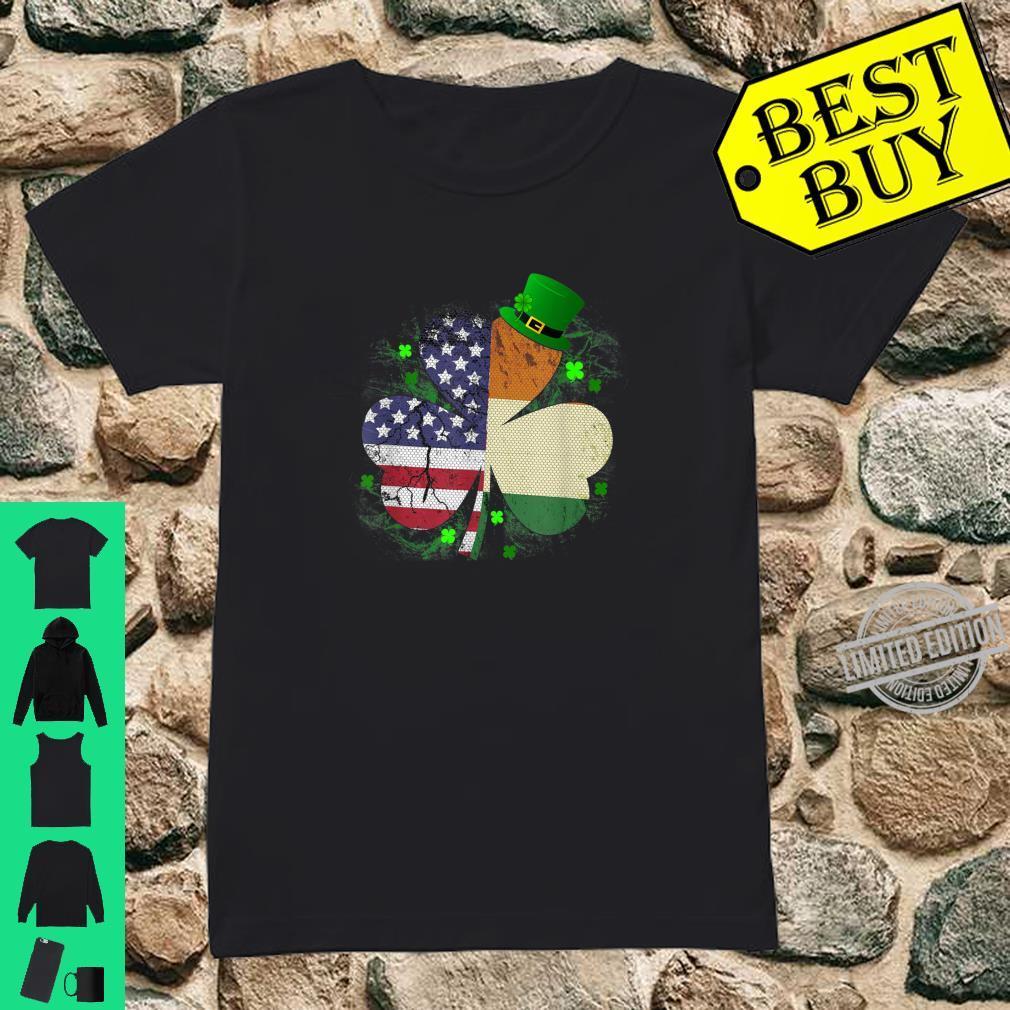 St. Patrick's Day Irish American Flag Shirt Shamrock Shirt ladies tee