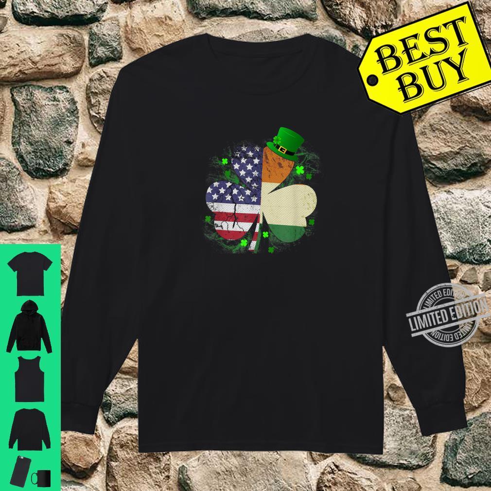 St. Patrick's Day Irish American Flag Shirt Shamrock Shirt long sleeved